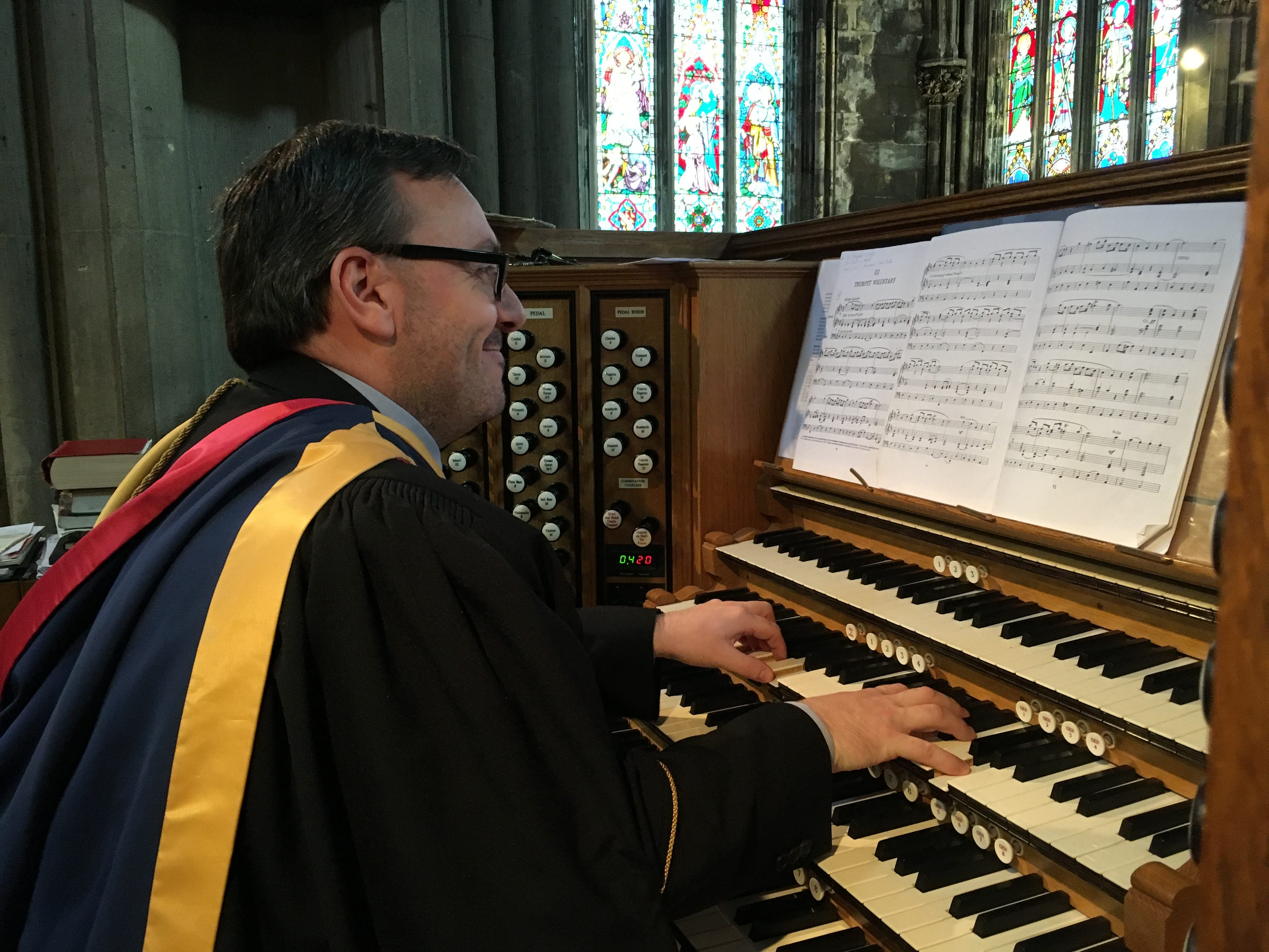 Director of Music playing the Schulze Organ