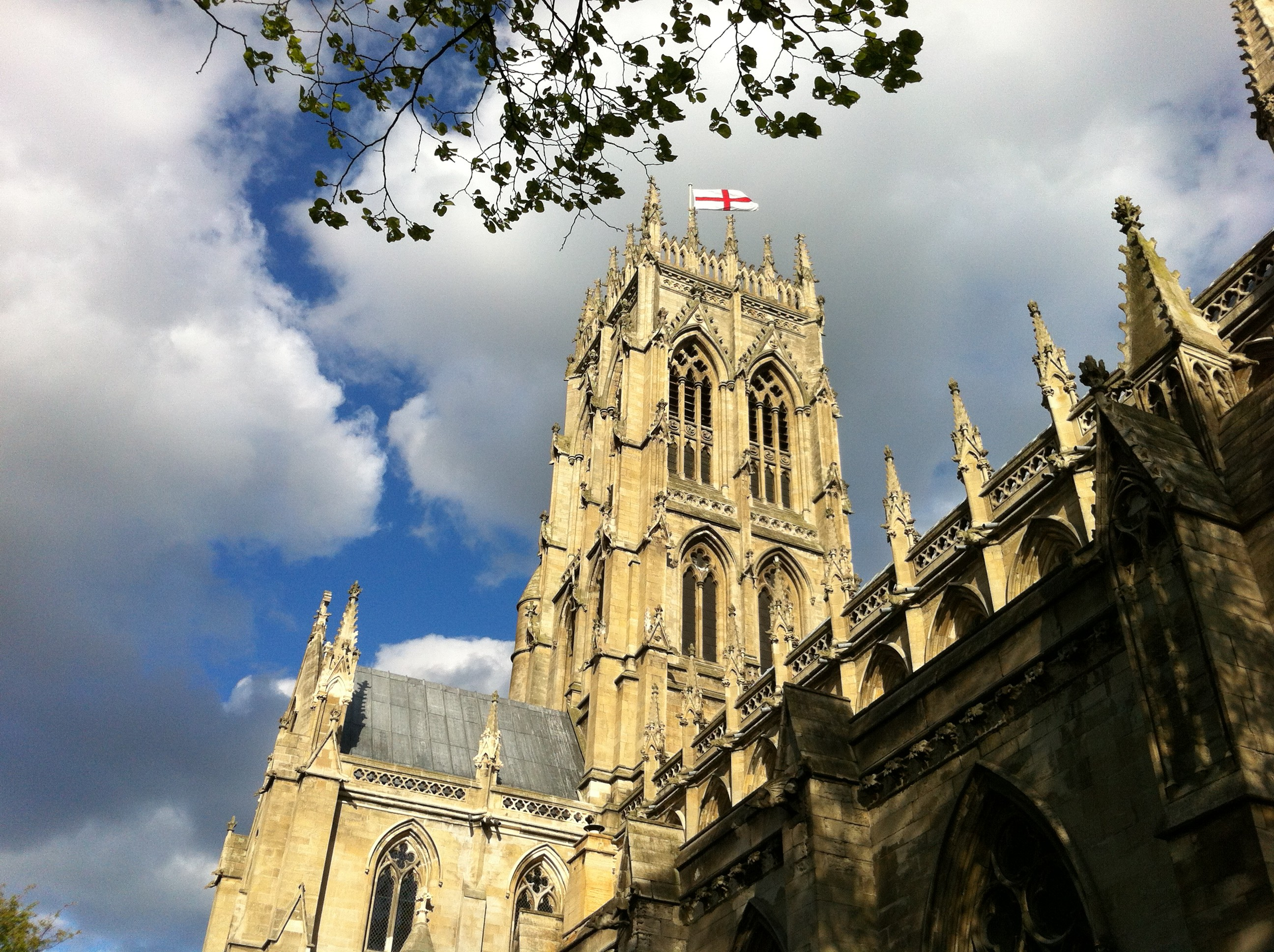 Minster Tower with flag north west  view