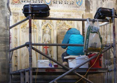WW1 Memorial restoration work in progress