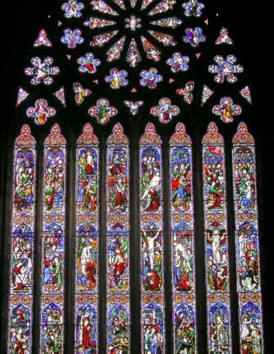 A photograph of the complete Great East Window